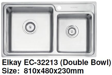 Elkay EC-32213 (Double Bowl) Stainless Steel Kitchen Sink - Domaco