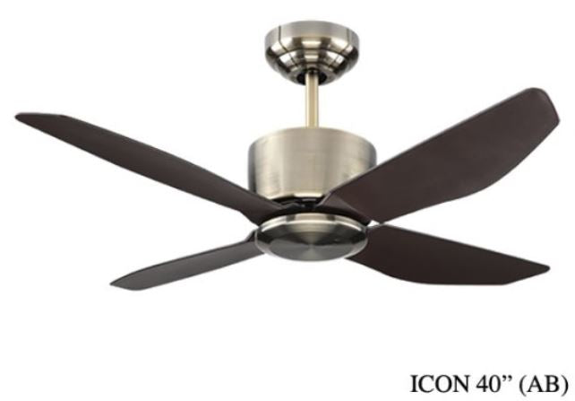 "Fanco I-Con 40"" Ceiling Fan (4 ABS Blades) With Remote Control - Domaco"
