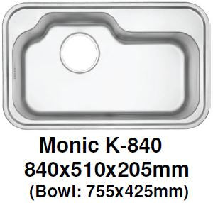 Monic-K-840 Kitchen Sink - Inset Mount Single Bowl - Domaco