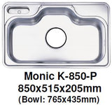 Monic-K-850-P Kitchen Sink - Inset Mount Single Bowl - Domaco