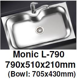 Monic L-790 Wallmount Kitchen Sink - Domaco