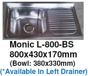 Monic L-800-BS Wallmount Kitchen Sink - Domaco