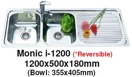 Monic I-1200 -( REVERSIBLE ) Inset Mount Double Bowl - Domaco