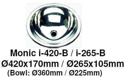 Monic I-265-B & I-420-B Kitchen Sink - Inset Mount Single Bowl - Domaco