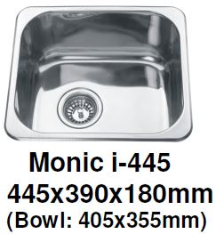 Monic I-445 - Inset Mount Single Bowl - Domaco