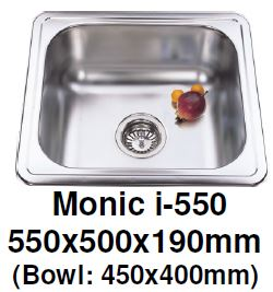Monic I-550 Kitchen Sink - Inset Mount Single Bowl - Domaco
