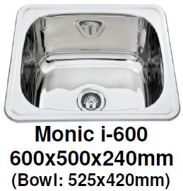 Monic I-600 Kitchen Sink - Inset Mount Single Bowl - Domaco