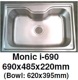 Monic I-690 - Inset Mount Single Bowl - Domaco