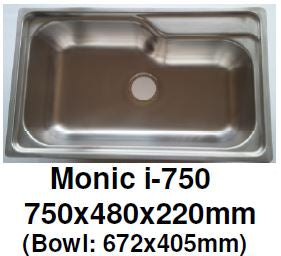 Monic I-750 - Inset Mount Single Bowl - Domaco