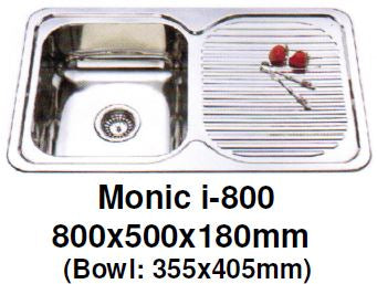 Monic I-800 - Inset Mount Single Bowl - Domaco