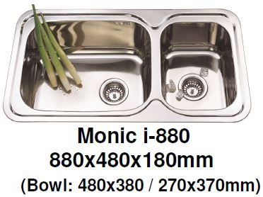 Monic I-880 Kitchen Sink - Inset Mount Double Bowl - Domaco
