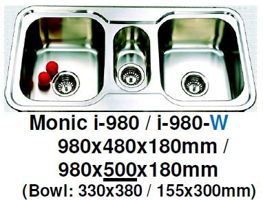 Monic I-980 & I-980-W Kitchen Sink - Inset Mount Double Bowl - Domaco