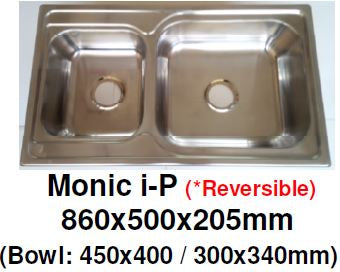 Monic I-President (Reversible)- Inset Mount Double Bowl - Domaco