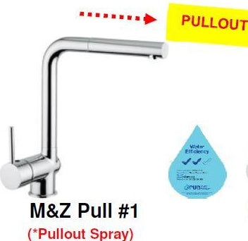 M&Z PULL 1 Sink Mixer with Pull-Out Handspray <br>MADE IN ITALY (26800) *Contact us for best price - Domaco