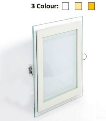 3 Colour LED Glass DownLight Square 12W - Domaco