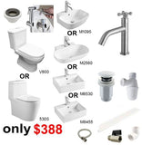 Premium-Economy Class Toilet Bowl & Basin Package - Domaco