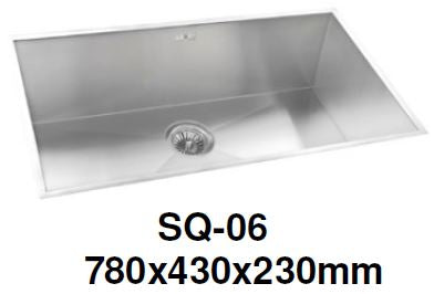 ENGLEFIELD SQ-06 1.2mm Handmade S/Steel Undermount Kitchen Sink - Domaco