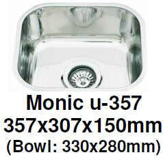 Monic-U-357 Kitchen Sink - Undermount Single Bowl - Domaco