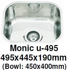 Monic-U-495 Kitchen Sink - Undermount Single Bowl - Domaco