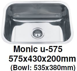 Monic-U-575 Kitchen Sink - Undermount Single Bowl - Domaco