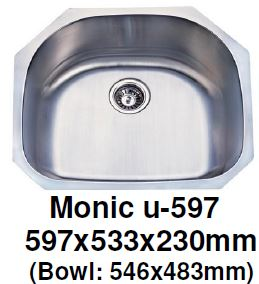 Monic-U-597 Kitchen Sink - Undermount Single Bowl - Domaco