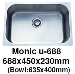 Monic-U-688 Kitchen Sink - Undermount Single Bowl - Domaco