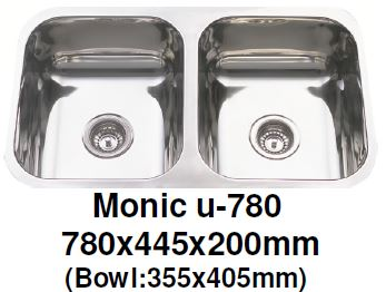 Monic-U-780 Kitchen Sink - Undermount Double Bowl - Domaco