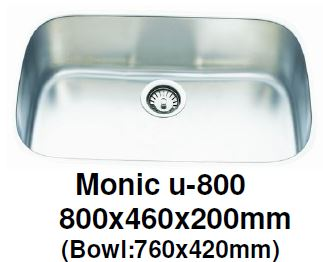 Monic-U-800 Kitchen Sink - Undermount Single Bowl - Domaco