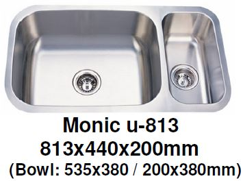 Monic-U-813 Kitchen Sink - Undermount Double Bowl - Domaco