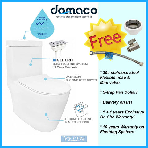 Velin A3390 1-Piece Toilet Bowl (Geberit Flushing System) domaco.com.sg