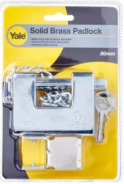Yale Y1800/80/117/1 Padlock C/W Bracket Silver and 5 Keys