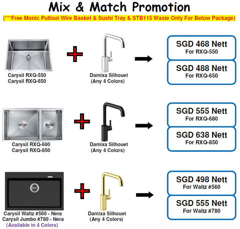 Carysil Sink & Damixa Sink Mixer Tap Promo Package - Domaco