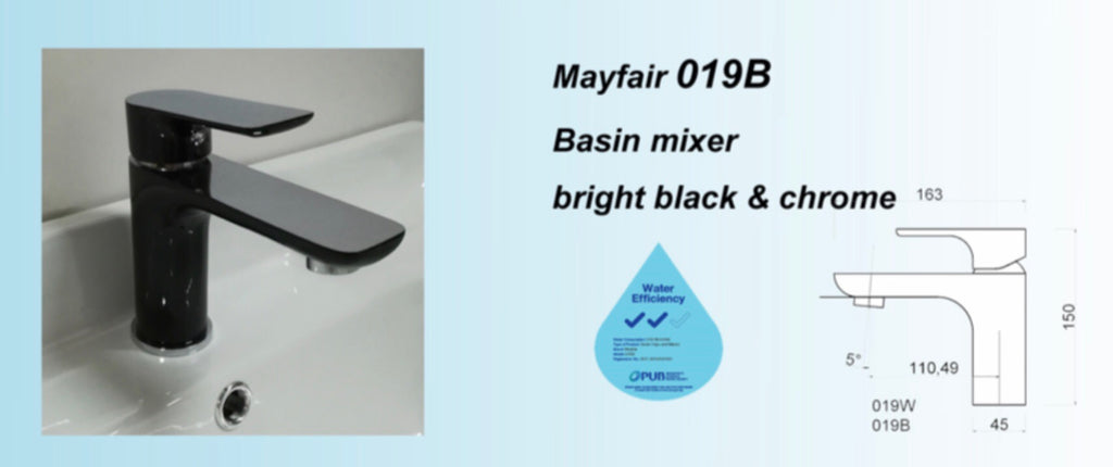 Mayfair 019B or 019W Basin Mixer Tap (Black or White) (9380)<br>*Contact us for best price - Domaco