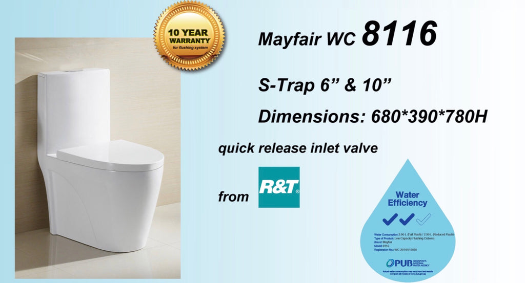 Mayfair 8116 Tornado Flushing 1-Piece Toilet Bowl (23800)<br>*Contact us for best price - Domaco