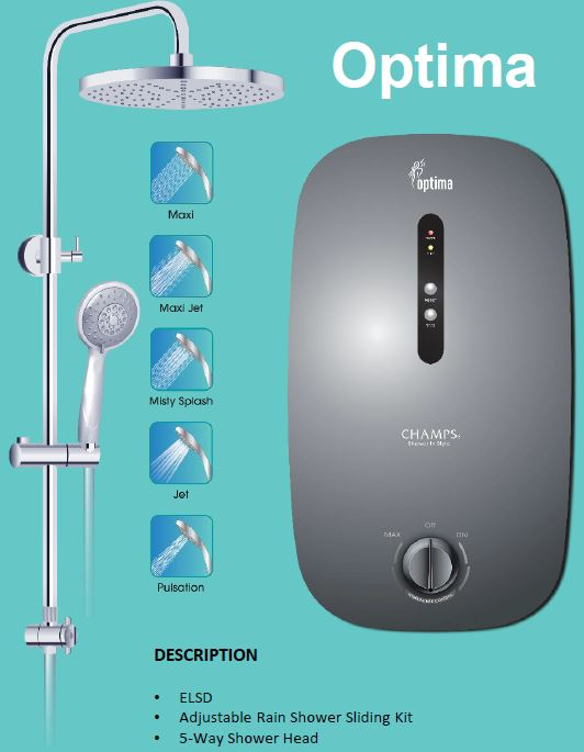 Champs Optima Rain Shower Instant Water Heater - Domaco