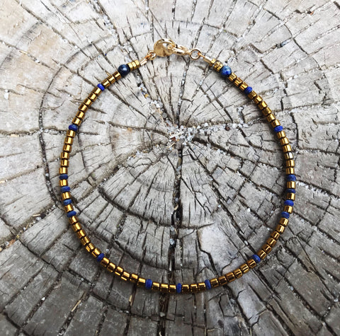 Aspen Blue Lapis and Hematite Gemstone Beaded Bracelet