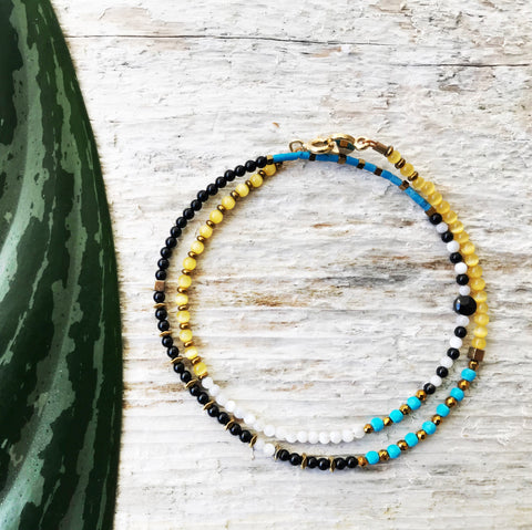 """Calico"" Gemstone Beaded Wrap Bracelet"