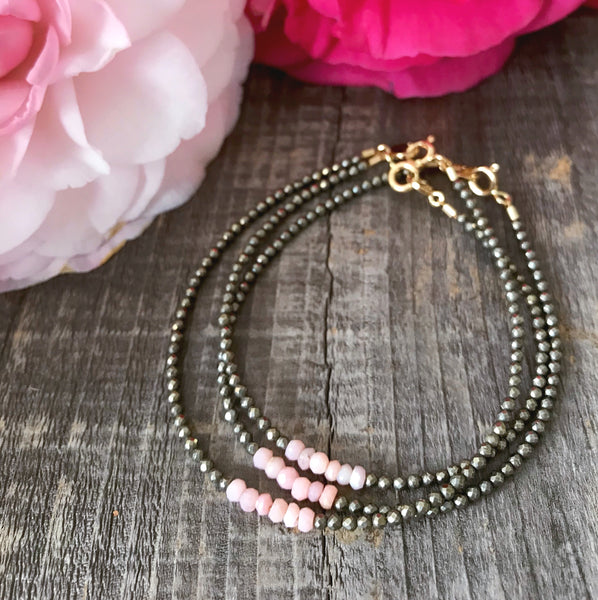 """Ray"" Pink Opal Gemstone Beaded Bracelet"