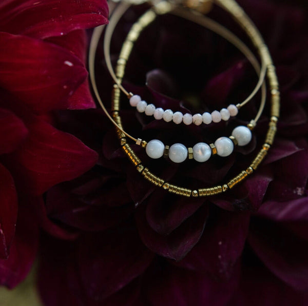 """Maiden"" Bridal Collection Set of Three Gemstone Beaded Bracelets by Narrow-Gauge Designs"