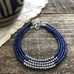 """Wallace"" Blue Lapis and Hematite Gemstone Beaded Bracelet"