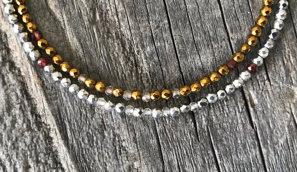 """Hart"" Hematite and Garnet Gemstone Beaded Bracelet"