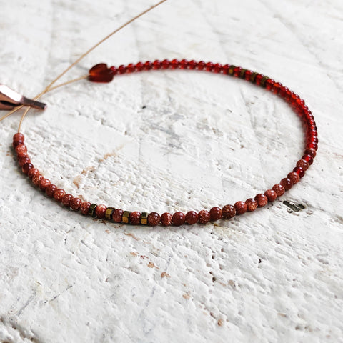 Carnelian and Goldstone Beaded Bracelet