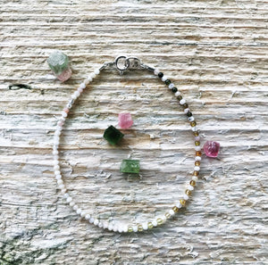 """White Oaks"" Opal and Tourmaline Gemstone Beaded Bracelet"