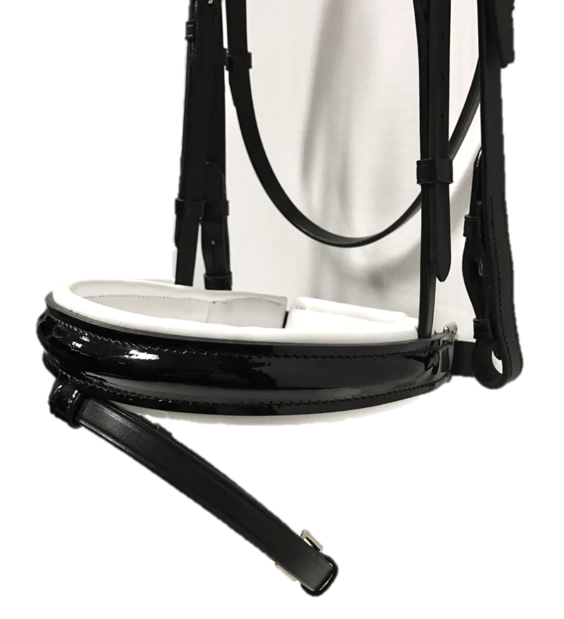 Venedig Snaffle Bridle - Black Patent with White