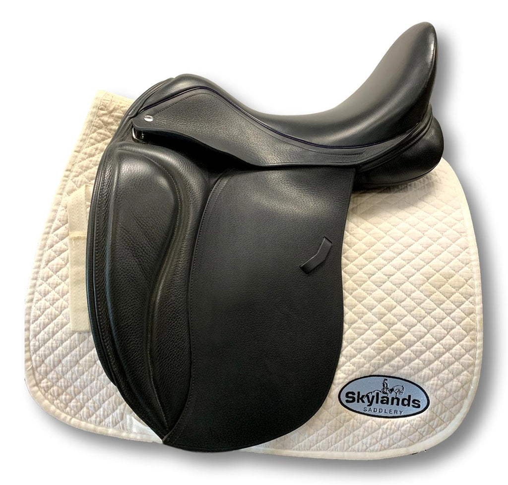 "Pre-Owned Bliss Loxley 17.5"" Dressage Saddle Black w/ Purple Welt"