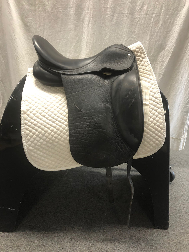 "HOLD: Used Custom Saddlery Laguna 17.5"" Dressage Saddle"