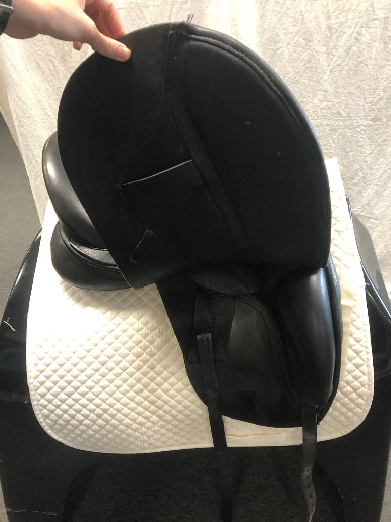 "Used JRD Dressage Saddle - Size 17.5"" - Black w/ Ostrich Cantle"