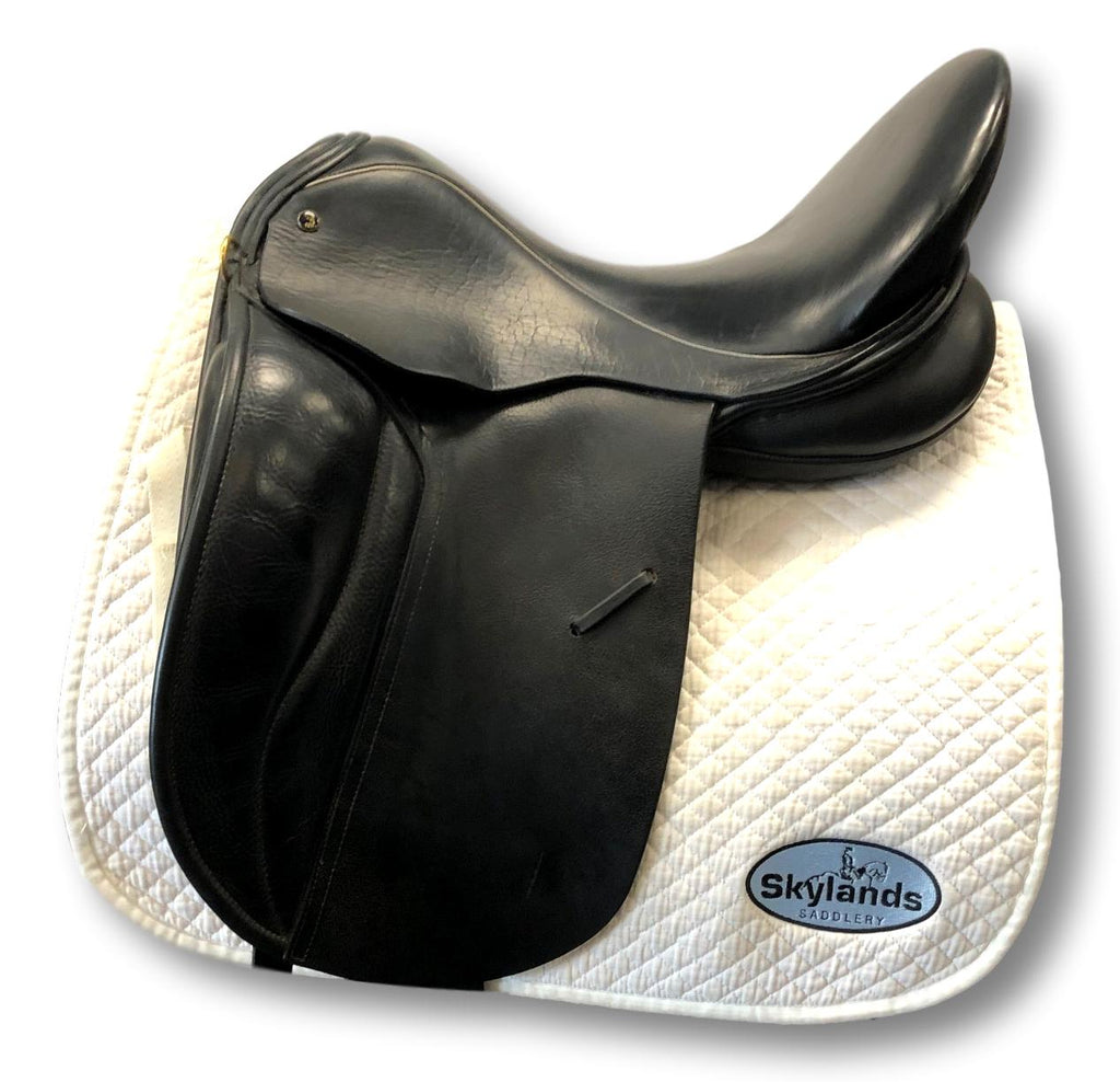 "Used JRD Single Flap Dressage Saddle - Size 18"" - Black w/ White Piping"