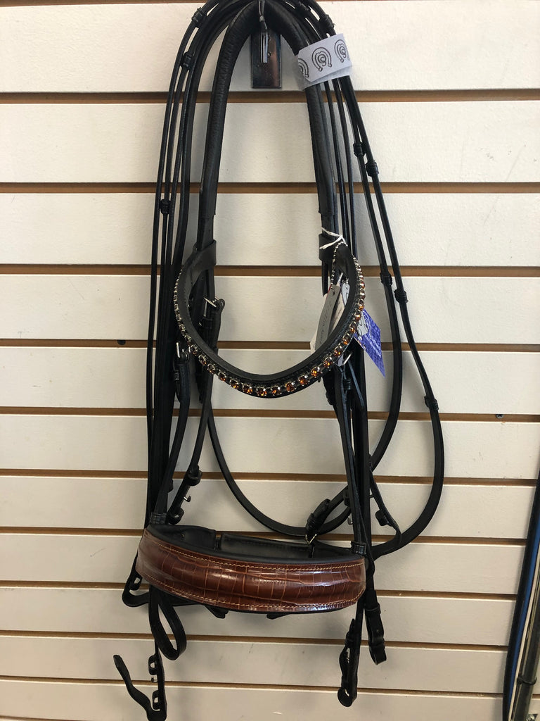 Comfort XS Double Bridle with Brown Croc Finish