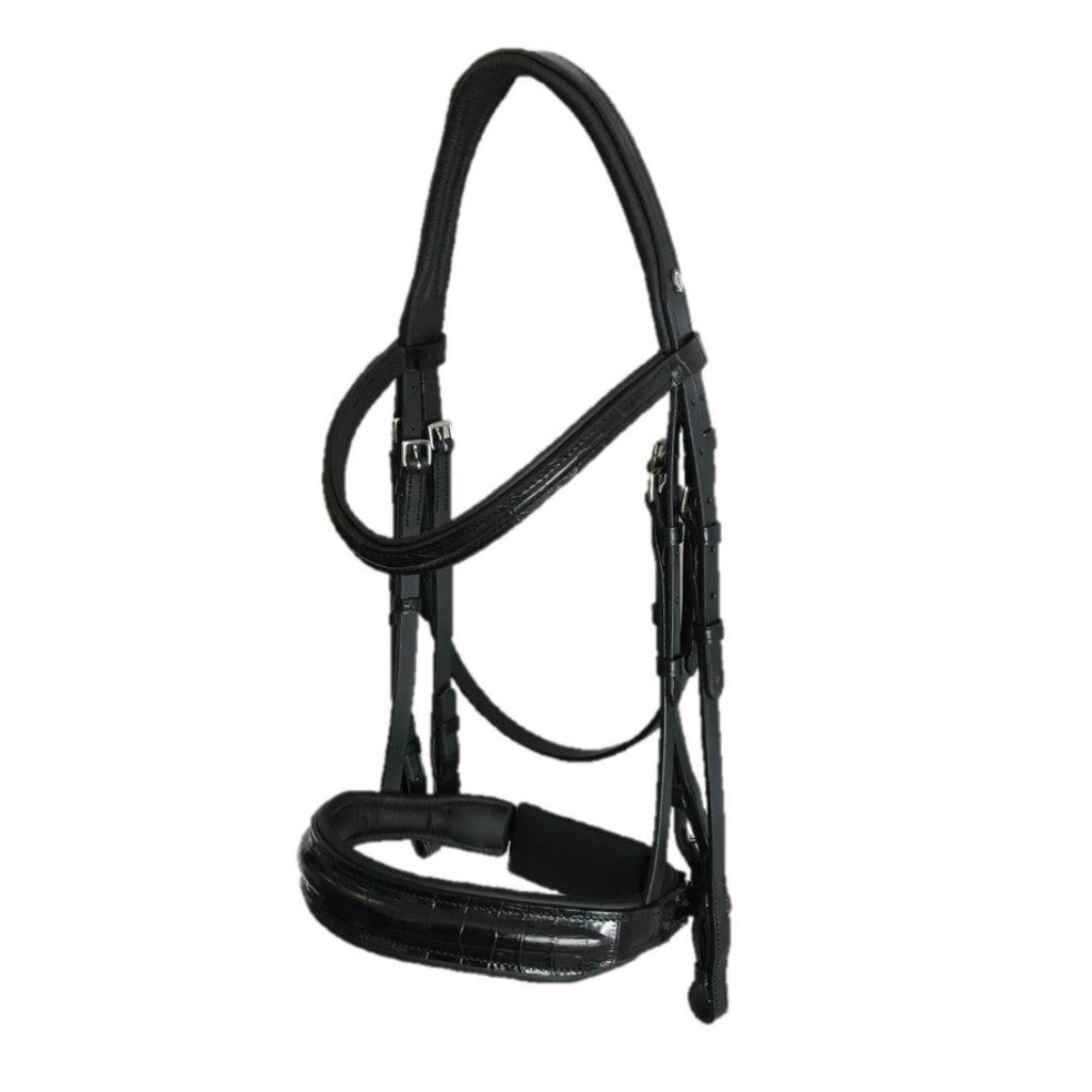 Comfort XS Double Bridle with Black Croc Finish